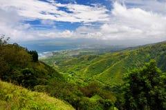 Stunning landscape view seen from Waihee Ridge Trail, overlooking Kahului and Haleakala, Maui, Hawaii Stock Photo