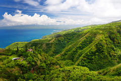 Stunning landscape view seen from Waihee Ridge Trail, overlooking Kahului and Haleakala, Maui, Hawaii Stock Photos
