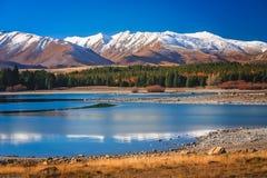 Stunning landscape of Lake Tekapo. Stunning landscape views of Southern Alps and Lake Tekapo, Mackenzie Country, New Zealand Stock Photos