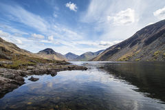 Stunning landscape of Wast Water and Lake District Peaks on Summ Royalty Free Stock Photo