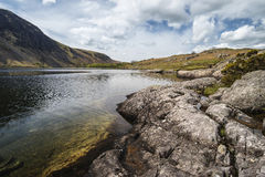 Stunning landscape of Wast Water and Lake District Peaks on Summ Royalty Free Stock Image