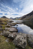 Stunning landscape of Wast Water and Lake District Peaks on Summ Stock Photo