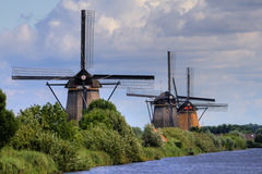Stunning landscape, windmills in netherland Royalty Free Stock Photography