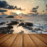 Stunning landscapedawn sunrise with rocky coastline and long exp Royalty Free Stock Photos