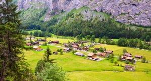 Stunning Lauterbrunnen valley rural view from Trummelbachfall Waterfall, Lauterbrunnen, Bernese Oberland, Switzerland, Europe Royalty Free Stock Images