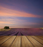 Stunning lavender field landscape Summer sunset with wooden plan Stock Image