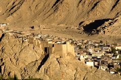 The Leh Palace and the Leh town from Namgyal zemo monastery. The stunning Leh Palace and the town looks amazing from the monastery Namgyal zemo royalty free stock photo