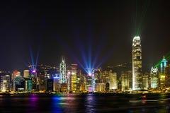 Stunning Light show in Hong Kong. Stock Photo