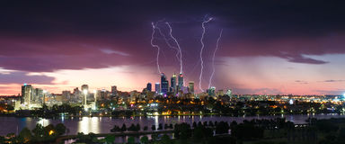 Free Stunning Lightning Strikes Over The Perth City Skyline Stock Image - 81768741