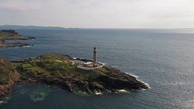 Stunning long distance aerial shot part 03 of Ardnamurchan Point, Great Britains most westerly point, with lighthouse stock video