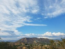 Stunning Los Angeles sky over the Mount Lee, Hollywood, Los Angeles royalty free stock photos