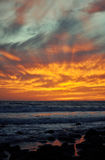 Stunning Malibu Rocky Shore Sunset. Santa Monica Mountains National Recreation Area Stock Photos