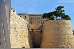 Fortification`s walls of Valletta, in Malta from the gates. Stunning medieval city in the mediterranean, image from the side at the entrance of the city. There Royalty Free Stock Photos