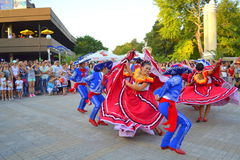 Stunning Mexican dance. Spectacular Mexican women dancers at Varna square,Bulgaria during street parade of 23th International Folklore Festival participants Royalty Free Stock Images