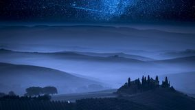 Stunning milky way over farm in Tuscany. Italy stock video footage