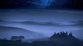 Stunning milky way over farm in Tuscany, Italy. Europe stock video footage