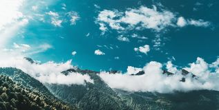 Panorama of Rosa Khutor mountains stock photography