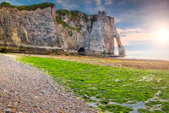 Stunning mossy beach and magical sunset near Etretat, Normandy, France stock photos