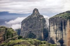 A stunning mountain formation in meteora greece. This picture shows a stunning mountain formation in meteora greece Stock Image