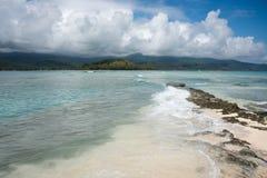 Azure Seas: Mystery Island. Stunning mountain and sea views at remote beach on Mystery Island, Vanuatu Royalty Free Stock Photo