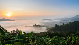 Stunning mountain sunrise view with sea of fog Royalty Free Stock Photos
