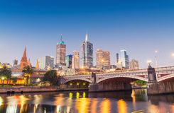 Stunning night skyline of Melbourne with river reflections Stock Photography
