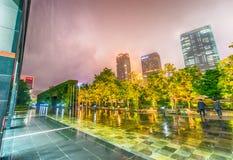 Stunning night skyline of Osaka on a rainy evening Stock Photos