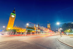 Stunning night view of Big Ben and Westminster Palace from Parli Royalty Free Stock Photo