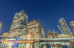 Stunning night view of Canary Wharf skyline - London, UK Stock Photos