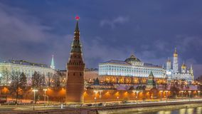 Stunning night view of Kremlin in the winter, Moscow, Russia stock video footage