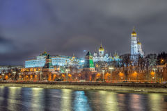 Stunning night view of Kremlin in the winter, Moscow, Russia Stock Photography