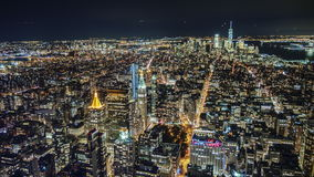 Stunning night view of Manhattan from the bird`s-eye view stock footage
