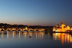 Stunning night view of Prague. stock photos