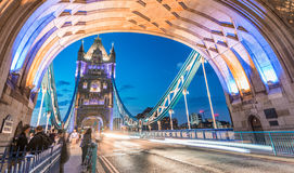 Stunning night view of Tower Bridge traffic, London - UK Stock Photos