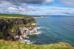 Stunning Northern Ireland coastline Magheracross viewpoint. White Rocks on Causeway Coastal Route, Portrush, Northern Ireland Royalty Free Stock Images