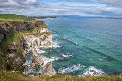 Stunning Northern Ireland coastline Magheracross viewpoint. White Rocks on Causeway Coastal Route, Portrush, Northern Ireland Stock Images