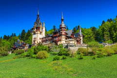 Stunning ornamental garden and royal castle,Peles,Sinaia,Transylvania,Romania,Europe Stock Photography