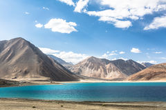 Stunning Pangong lake in Ladakh. India. The lake shares a border with Tibet in China Stock Photography