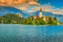 Stunning panorama with Lake Bled,Slovenia,Europe Stock Photography