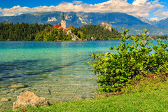 Stunning panorama with Lake Bled,Slovenia,Europe Stock Images