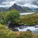 Stunning panorama landscape image of stream flowing over rocks n. Beautiful panorama landscape image of stream flowing over rocks near Llyn Ogwen in Snowdonia royalty free stock photos