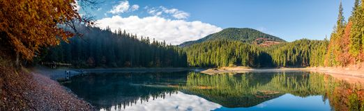 Stunning panorama of mountain lake in autumn. Beautiful Scenery of high altitude Synevyr Lake among spruce forest, the most visited landmark in Ukrainian Stock Photos