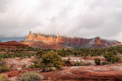 Stunning panorama of Sedona, Arizona's vivid red sandstone landscape. Stock Images