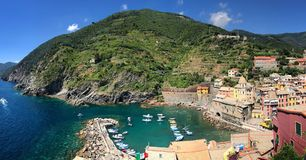 Stunning panorama of Vernazza bay and coast, Cinque Terre National Park, Liguria, Italy, Europe Royalty Free Stock Photography