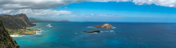 A Stunning Panorama of the View from Oahu`s Eastern Coast. A the Makapuu Point Lookout a stunning view overlooking the Pacific Ocean to the East royalty free stock photos