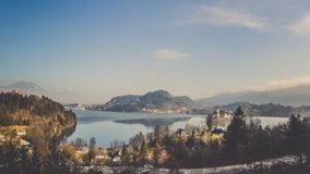 Panorama views of mountain surrounding island middle of Bled Lake royalty free stock image
