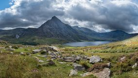 Stunning panoramic landscape image of countryside around Llyn Og stock images