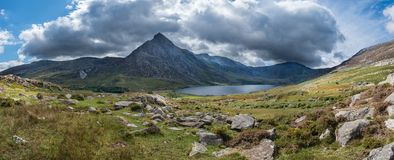 Stunning panoramic landscape image of countryside around Llyn Og royalty free stock photo