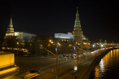 Stunning Panoramic night view of Moscow in the Kremlin, Russia Royalty Free Stock Photo