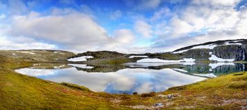 Beautiful Landscape Glacial Lake Panorama royalty free stock photo